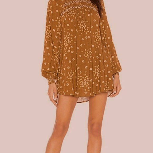 Free People Dresses & Skirts - Free people brown floral long sleeve tunic dress